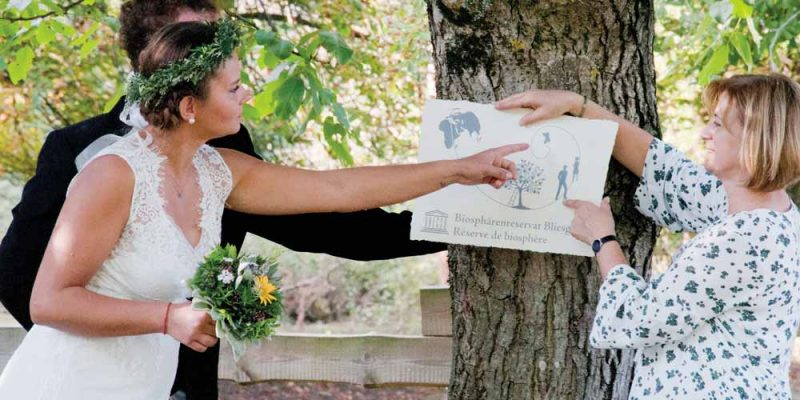 Das Brautpaar steht mit der Beraterin unter einem Baum.